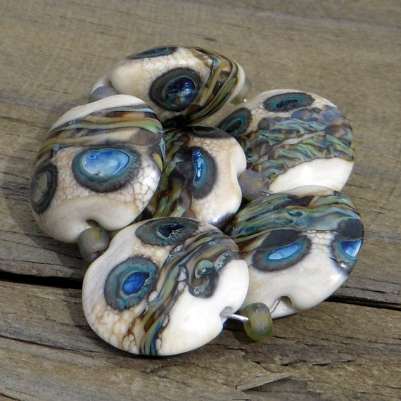"Handmade lampwork beads, lentils, ""Outer Banks"""