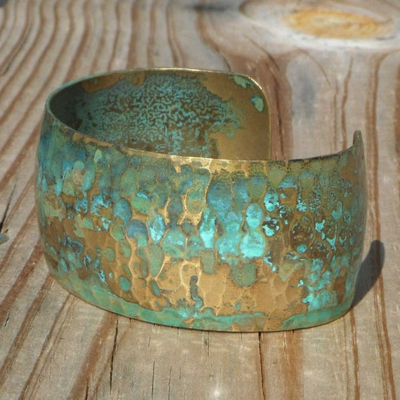 Weathered.... patinated wide brass cuff bracelet