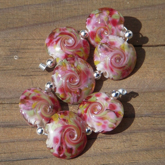 "Lampwork beads, lentils set, handmade, ""Cherry Creek"""