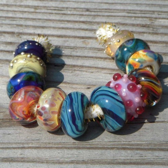 """Lampwork beads for European add a bead chains, """"Grab Bag 2"""""""