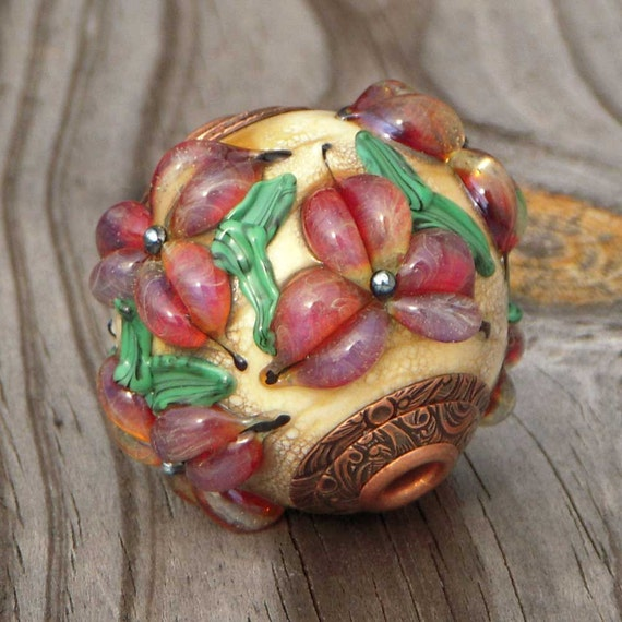 "Handmade lampwork bead, fits European add a bead chains, focal, pendant, ""Trilliums"""