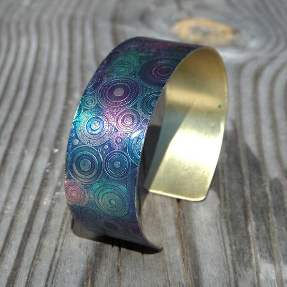 Steampunk.... marbled teal, pink, purple etched and patinated metal cuff bracelet