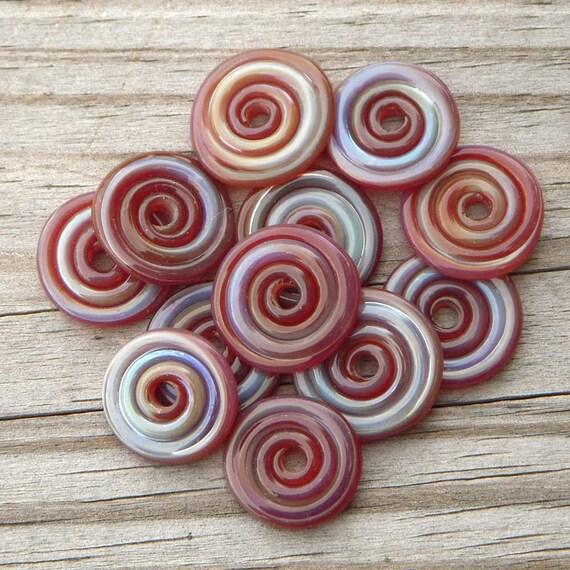 "12 Handmade lampwork disc beads, borosilicate, ""Rosy"""