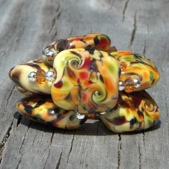 "Handmade lampwork beads, crunch tabs, yellow, ""Abundance"""