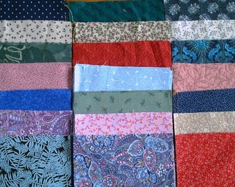 "Fifty 6"" charm squares all different quilt prints florals cotton"