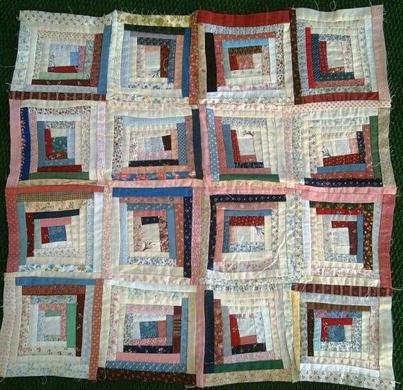 Scrappy Log Cabin Star quilt top for wall or crib quilt, table topper