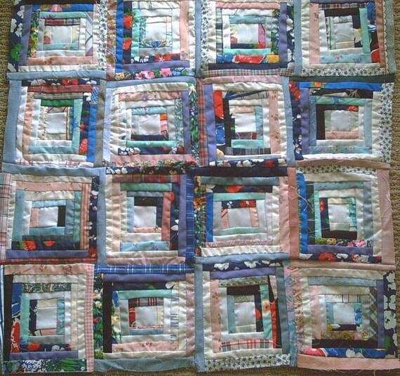Fun, Funky, Folk Art  Log Cabin Star quilt top for wall or crib quilt