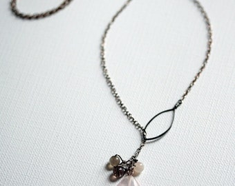 Sterling Silver Leaf and Quartz Cluster Necklace (oxidized)