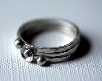 Sterling Silver Stacking Rings, Rosebud and Two Dots