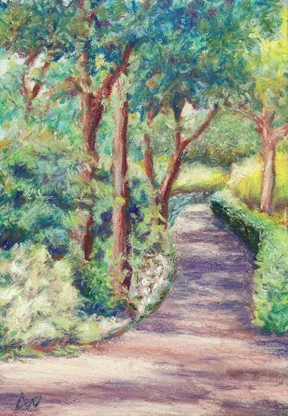 Original Gardens at Manteo pastel painting