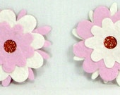 2 Pretty PInk Mulberry Flowers Scrapbooking Embellishments