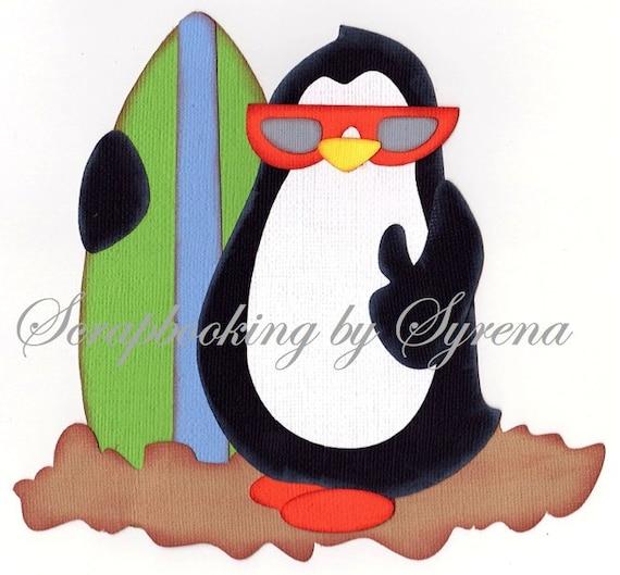Surfer Penguin Scrapbooking Paper Piecing Embellishment