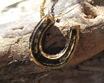 Gold Leather and Black Horseshoe Charm on Chain Necklace Pendant Gift for Girl Lady Girlfriend Good Luck