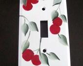 Hand painted lightswitch plate single Cherries