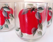 Apple Glasses, Autumn,set of Four, Hand Painted