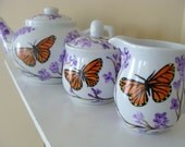Monarch Butterfly and Lilacs Teapot Set Hand Painted