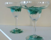 Pine Wreath Margerita Glasses Hand Painted