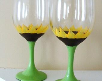 Sunflower Wine Glasses Hand Painted