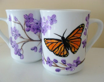Hand Painted Butterfly and Lilacs Cup Set