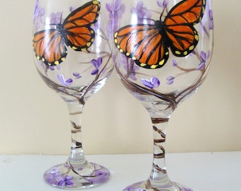 Butterfly Wine Glasses, Monarch Butterfly, Lilacs, Hand Painted