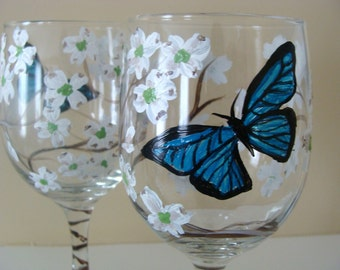 Hand Painted Butterfly and Dogwood Wine Glasses