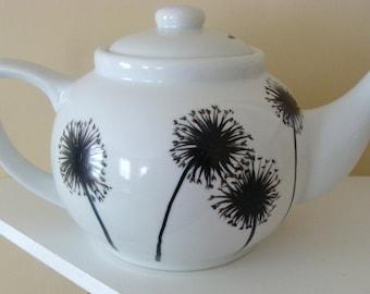 Dandelion Teapot,black and white dishes,tea set,housewarming gift,serving,tableware,silhouette,flowers,Canada,floral,art,dinnerware