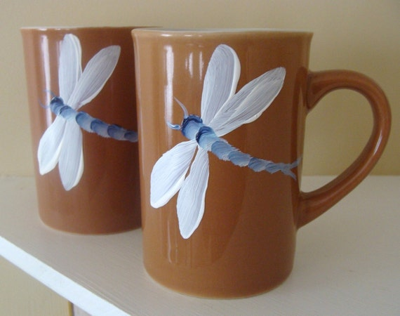 Dragonfly Cup Set of Two Hand Painted