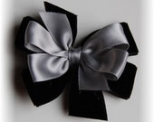 Black and Silver My Little Darling Black Velvet with Silver Satin Hair Bow Perfect for the Holidays