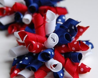 Independence Day Mini Korkers Set of 2 Hair Bows Red White Dark Royal Blue