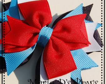 America the Beautiful Double Pinwheel Hair Bow Red White Navy Blue