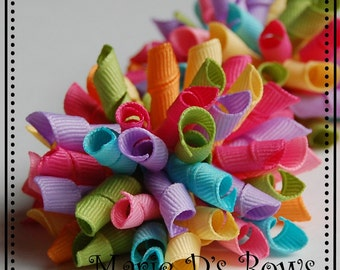 Butterfly Blossoms Mini Korkers Set of 2 Hair Bows M2MGymbo Pink Green Light Blue Yellow Orange