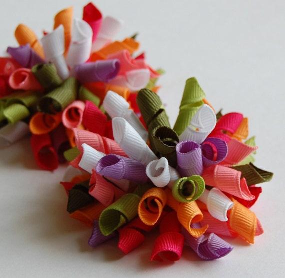 Pretty Posies Mini Korkers Set of 2 Hair Bows M2M Gymboree Purple Coral Green Pink
