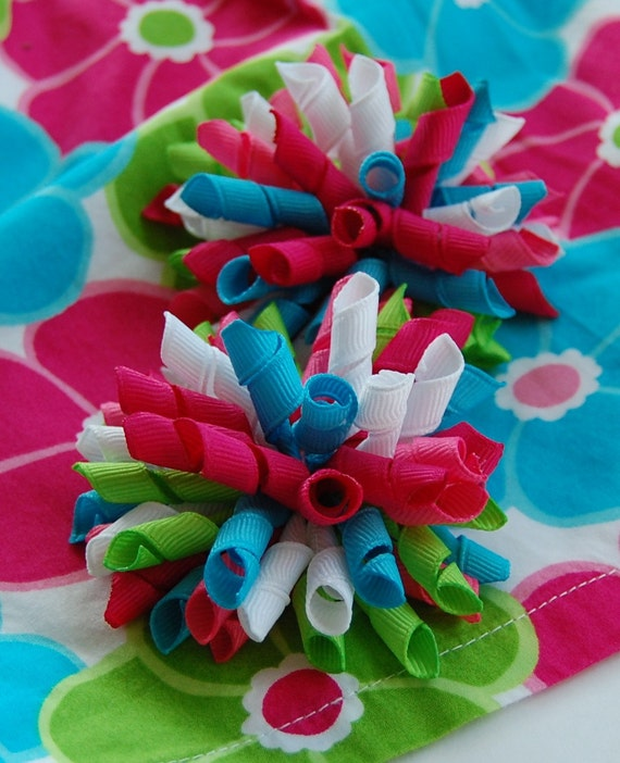 SALE Ice Cream Sweetie Mini Korkers Set of 2 Hair Bows M2M Gymboree Bright Pink Lime and Blue