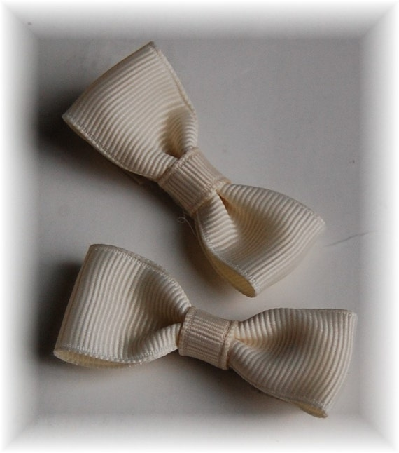 Tuxedo Style Hair Bow Ribbon Barrette Clip Pick 3 sets of 2 (6 total)