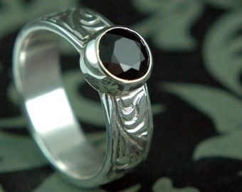 Black Spinel Hand Carved Ring Sterling Silver Filigree Elegant Evening Ring Wide Band Free Shipping Worldwide via Courier