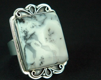 Dendritic Agate Sterling SIlver Ring with Filigree Free Shipping Worldwide via Courier