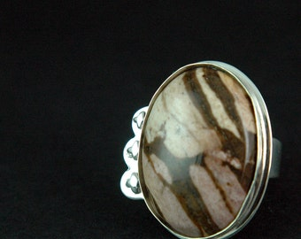 Jasper Sterling Silver Ring with Flowers Solid Silver Ring One of A Kind Unique Pink and Brown Jasper Free Shipping Worldwide via Courier