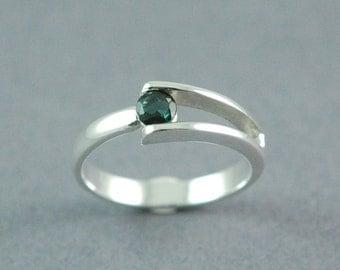 Green Tourmaline Ring Split Band Ring Made to Order Petite Tourmaline Ring Free Shipping Worldwide via Courier