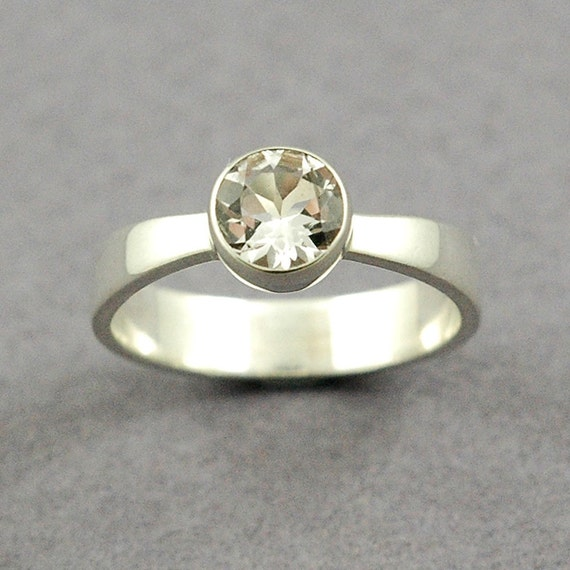 White Topaz Solitaire Ring Size 7