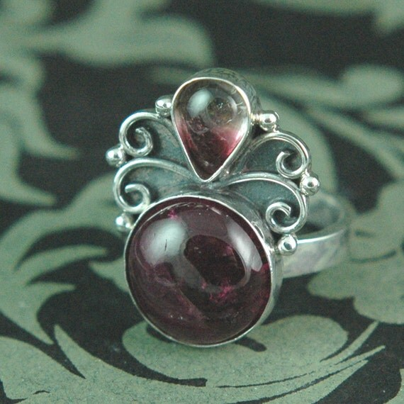 ON SALE 30% OFF Pink Tourmaline Sterling Silver Ring Filigree Ring Free Shipping Worldwide