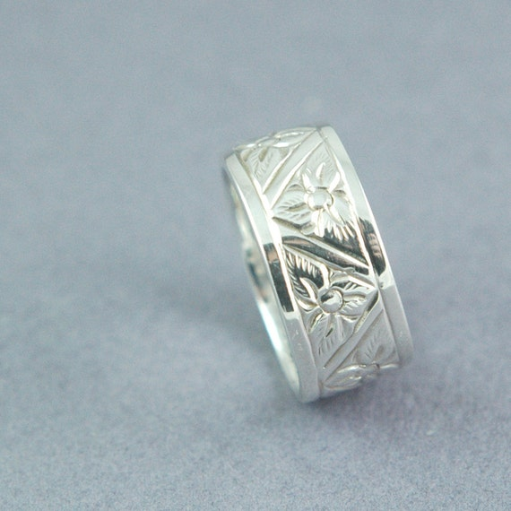 engraved sterling silver band ring by blacklotusdesign