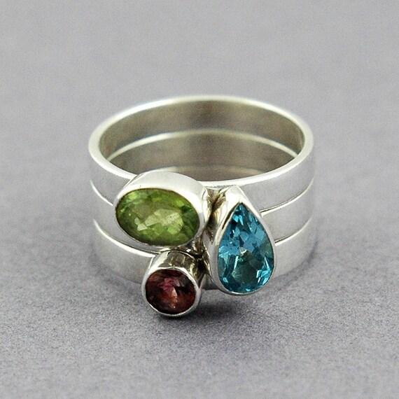 Peridot Tourmaline and Blue Topaz Stacker Ring Set Size 7