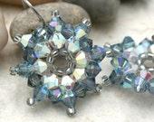 Smoky Blue and Cream Crystal Urchin Earrings