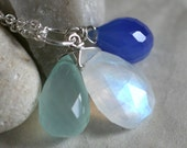Moonstone, Sea Foam and Bright Blue Chalcedony Sterling Silver Necklace