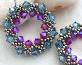 Dusky Blue and Pink Crystal Half-Wreath Earrings
