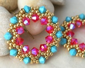 Pink and Turquoise Crystal Half-Wreath Earrings