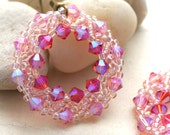 Pink Crystal Half-Wreath Earrings