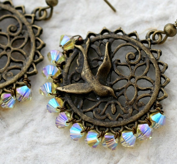 Yellow Crystal & Bronze Sparrow Earrings