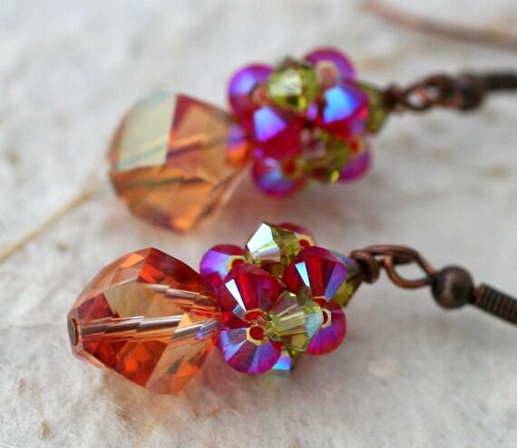 Cognac Helix Crystal Earrings