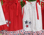 One of a Kind, Red White Blue Toddler Girls Dress, pillowcase sun swing style 12-24 months Free Ship